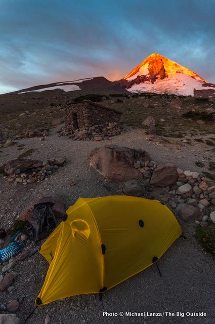 Sunrise at Cooper Spur campsite, Timberline Trail, Mount Hood, Oregon.