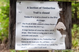 Eliot Creek closure sign.
