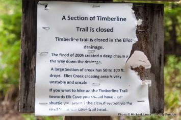 Eliot Creek closure sign.
