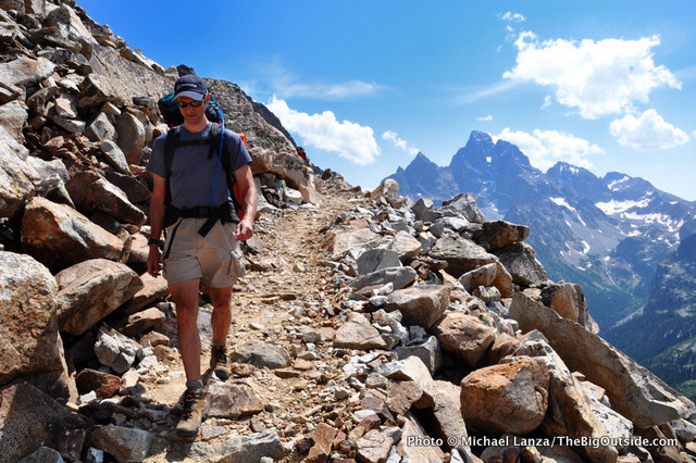 Bill Mistretta backpacking above the North Fork of Cascade Canyon, Grand Teton National Park.