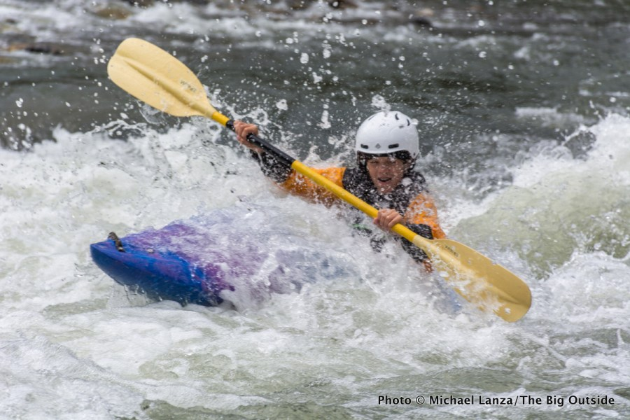 Nate, 14, kayaking Marble Rapid, Middle Fork Salmon River, Idaho.