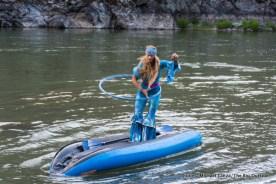 Anika demonstrating advanced boating skills.