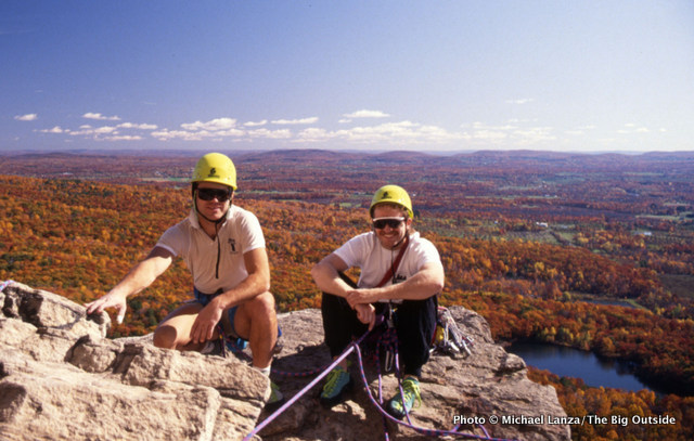 Rick and me climbing in New York's Shawangunks, early 1990s.