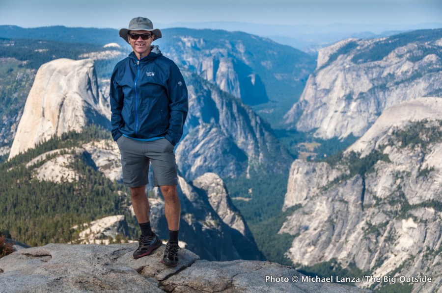 Michael Lanza of The Big Outside on the summit of Clouds Rest, Yosemite National Park.