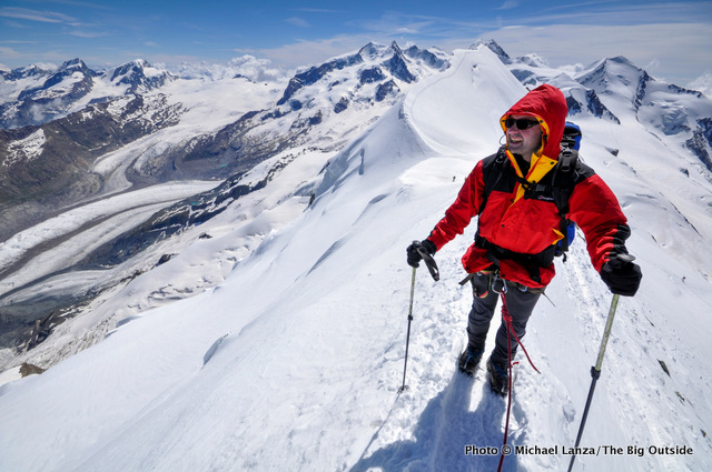 Guido Buenstorf climbing the Breithorn in the Swiss Alps.
