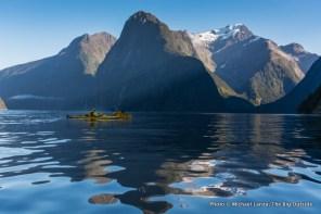 Kayaking Milford Sound.
