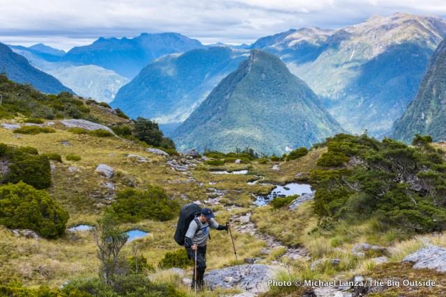 Trekking the Dusky Track, Fiordland National Park, New Zealand.
