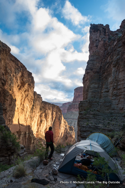 Campsite below Royal Arch in the Grand Canyon.