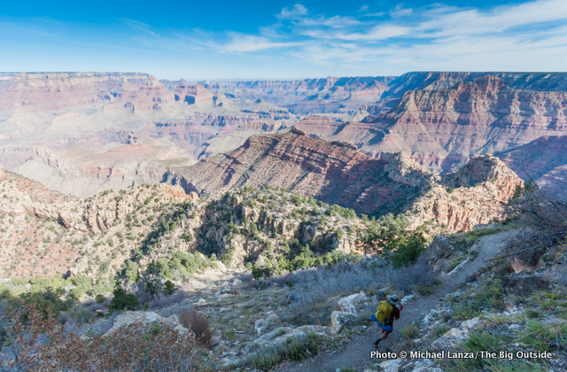 A backpacker on the Grandview Trail in the Grand Canyon.