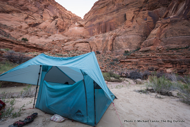 The MRS FlyLite tent in Paria Canyon.
