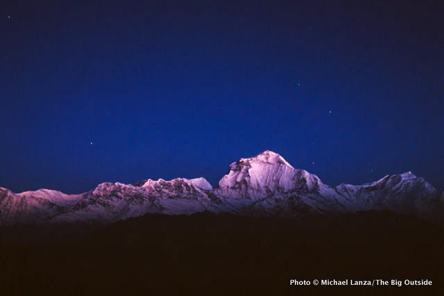 Dawn light on Dhaulagiri, Annapurna Circuit, Nepal.