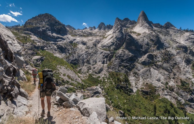 Backpackers on the High Sierra Trail in Sequoia National Park.