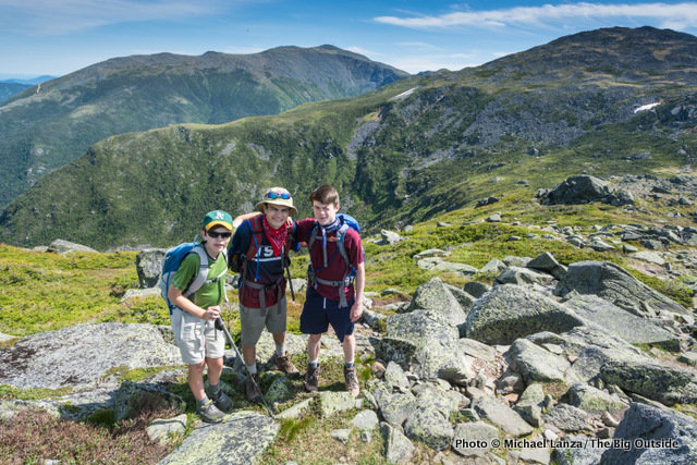 My son Nate, 14, my 17-year-old nephew Marco, and his 16-year-old buddy Liam in the Presidential Range.