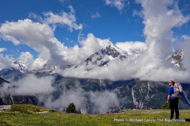 My wife, Penny, trekking the Europaweg (Europe Trail) in the Swiss Alps.