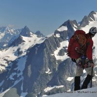 A climber on the Ptarmigan Traverse, North Cascades Range, Washington.