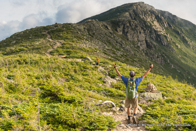 Mark Fenton approaching Bondcliff on a dayhike of the 32-mile Pemi Loop in the White Mountains.