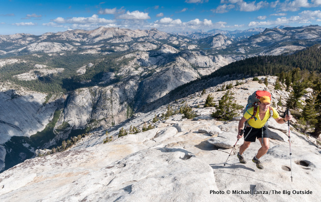Todd Arndt backpacking over Clouds Rest in Yosemite National Park.