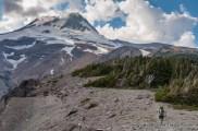 Jeff Wilhelm hiking Gnarl Ridge on the Timberline Trail, Mount Hood, Oregon.