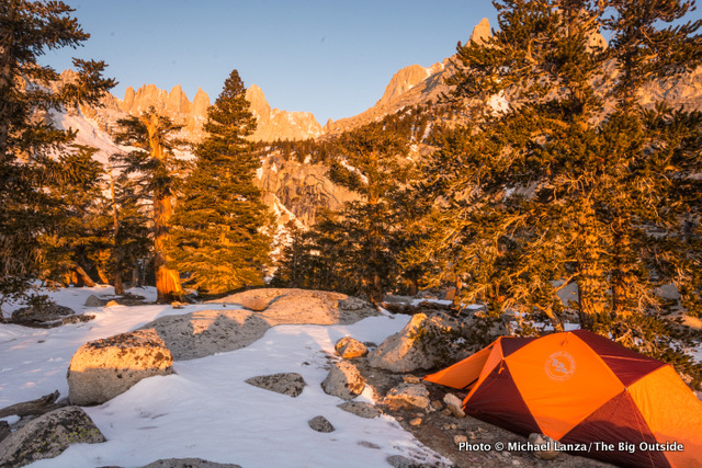The Big Agnes Battle Mountain 2 tent at the first camp below Mount Whitney.