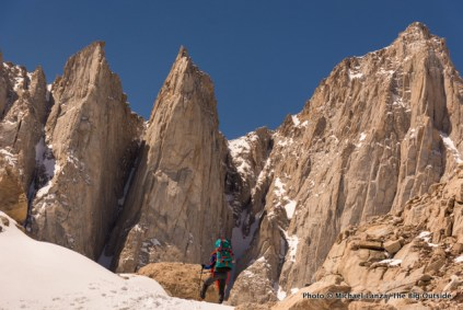 Nate below Mount Whitney's East Face and needles.