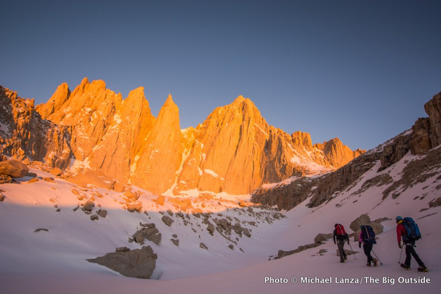 Climbers approaching the East Face of Mount Whitney in the John Muir Wilderness, California.