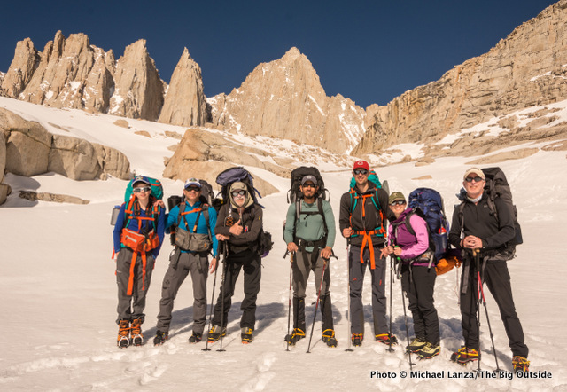 Nate, me, John Kelly, Frank Weber, Nick Ornella, Molly Baab, Tim Brosnan, at high camp at 12,000 feet below Mount Whitney.