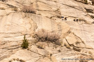 Scrambling the ledges on the Mountaineers Route, Mount Whitney.