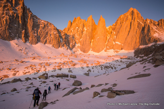 Below the East Face of Mount Whitney on summit day.