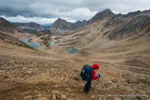 A teenager backpacking in Idaho's White Cloud Mountains.