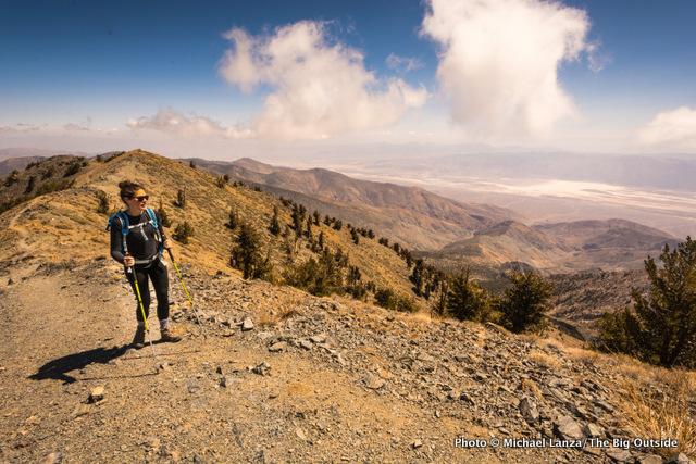 Oboz Footwear ambassador Elisabeth Brentano hiking 11,049-foot Telescope Peak in Death Valley National Park.