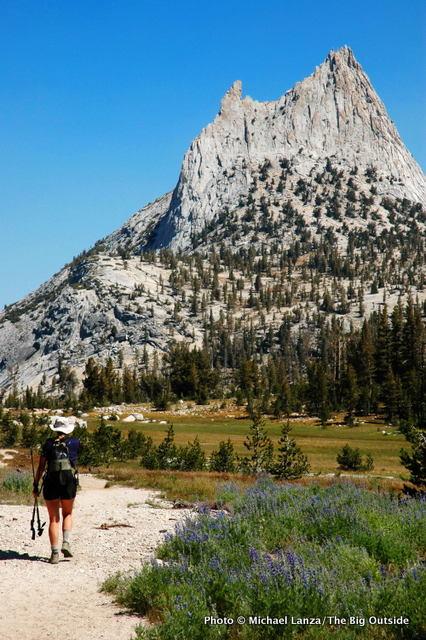 Heather Dorn hiking the John Muir Trail below Cathedral Peak, Yosemite.