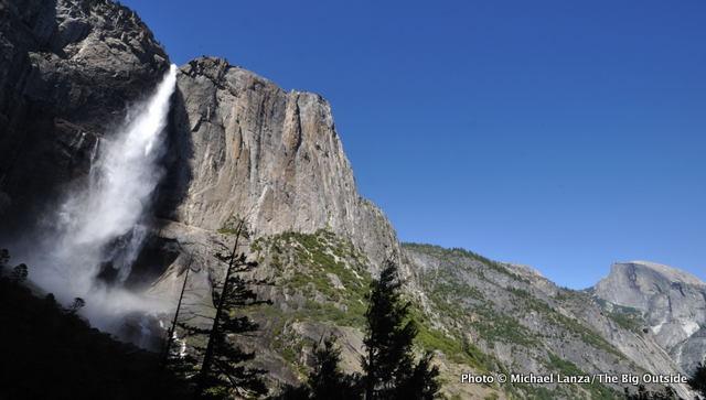 Upper Yosemite Falls in Yosemite Valley, with Half Dome at far right.
