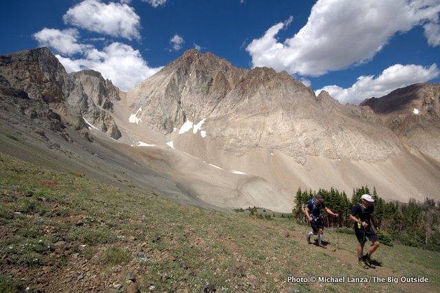 Scott White and Chip Roser hiking below Castle Peak, White Cloud Mountains, Idaho.