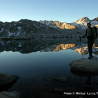 On the John Muir Trail at Sapphire Lake in Evolution Basin, Kings Canyon National Park.