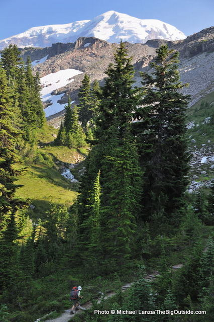 A young boy backpacking in Mount Rainier National Park.