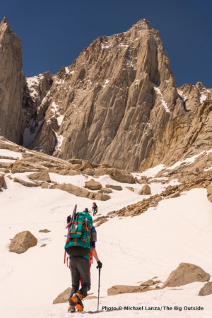 My son, Nate, hiking to our high camp below California's Mount Whitney.