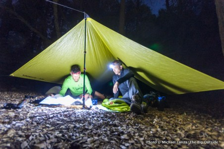 Backpackers using headlamps at a campsite in the Grand Canyon of the Tuolumne River, Yosemite National Park.