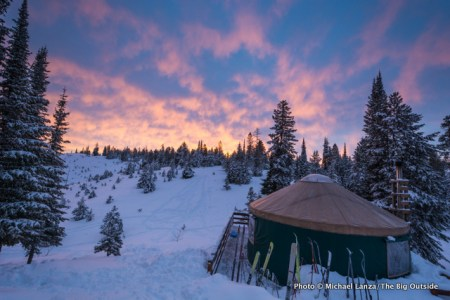 Dawn at Banner Ridge yurt, Boise National Forest, Idaho.
