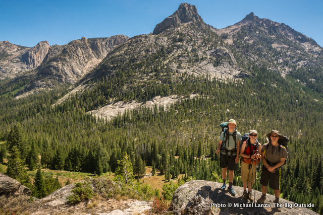 Kade, Nate, and Iggy above the Redfish Lake Creek Valley, Sawtooth Mountains, Idaho.