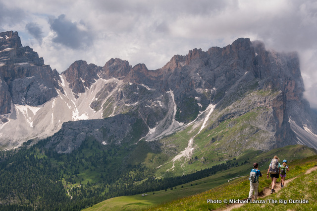 My family trekking the Alta Via 2 in Italy's Dolomite Mountains.