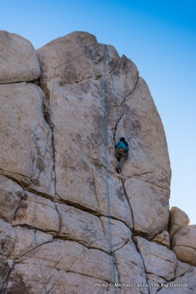 Rock climbing in Real Hidden Valley, Joshua Tree National Park.