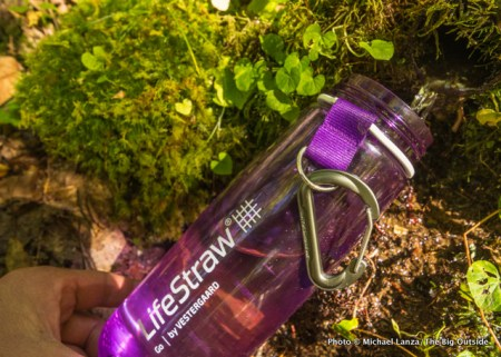 Filling the LifeStraw Go at a spring in the Great Smokies.