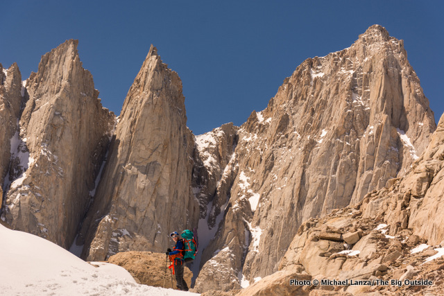Nate near our high camp below the East Face of California's Mount Whitney.