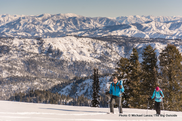 Snowshoeing Pilot Peak in Idaho's Boise Mountains.