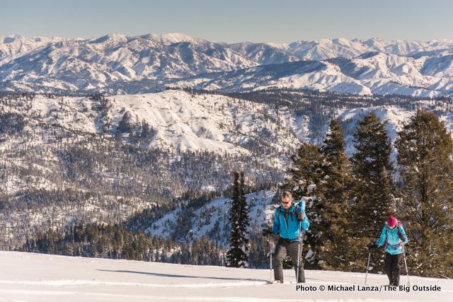 Snowshoeing Pilot Peak in Idaho's Boise Mountains.