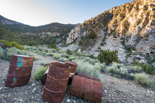 Rusting barrels in Panamint City ghost town, Death Valley National Park.