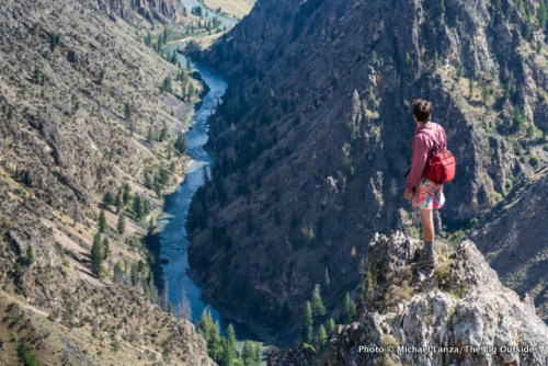 Hiking to Johnson Point above Idaho's Middle Fork Salmon River.