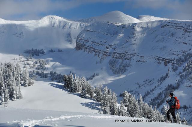 Backcountry skiing in Wyoming's Teton Range.