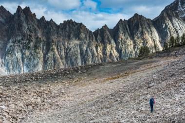Hiking below Castle Peak.