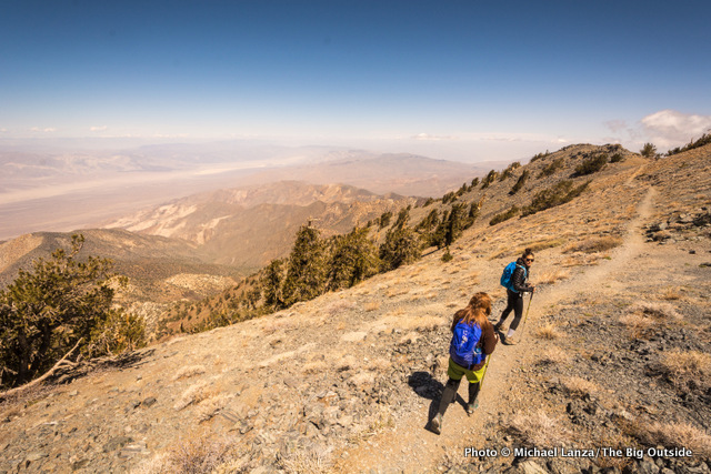 Hiking off the summit of Telescope Peak, Death Valley National Park.
